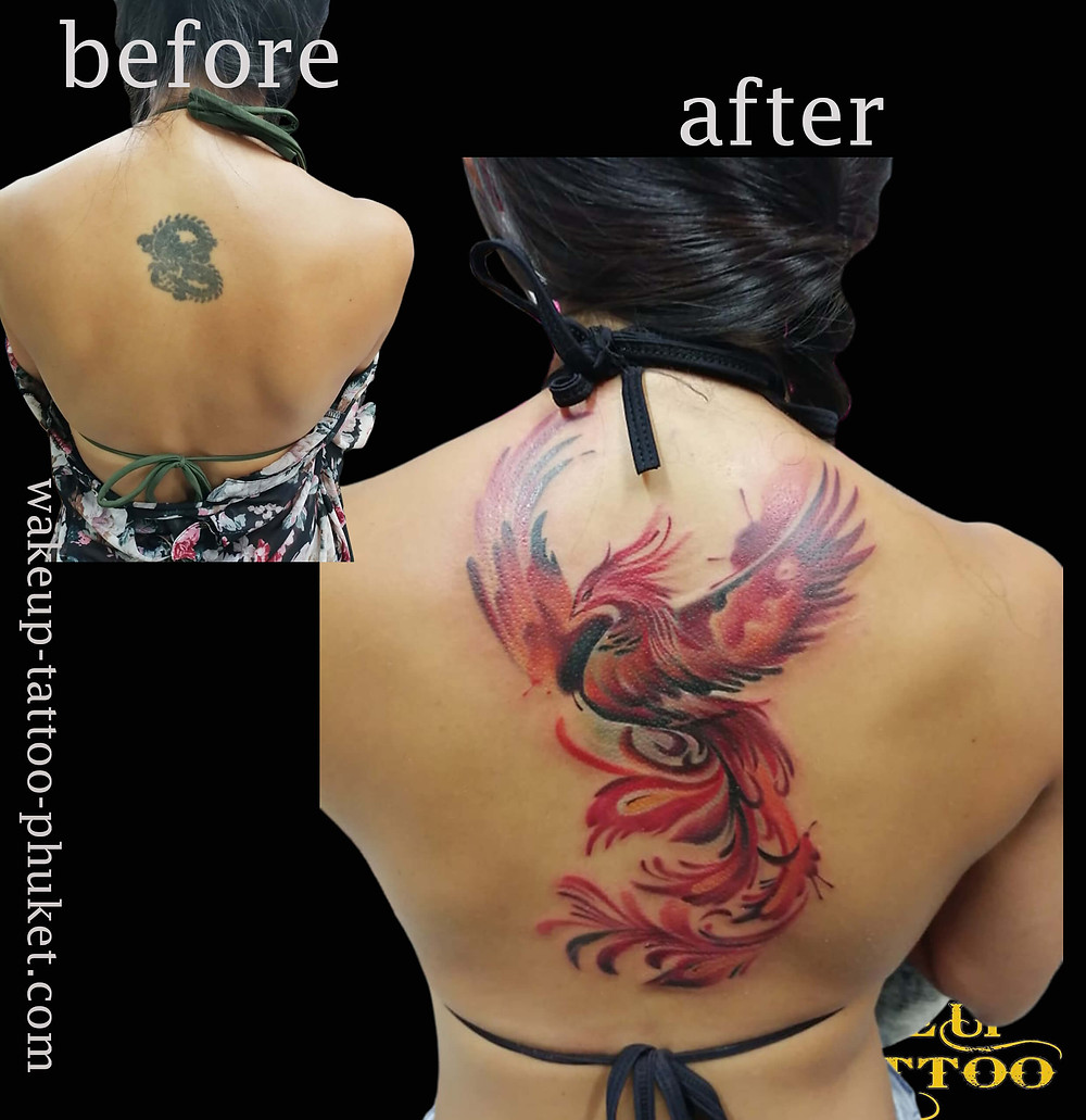 Cover up Phoenix Tattoo by Wake up tattoo Phuket