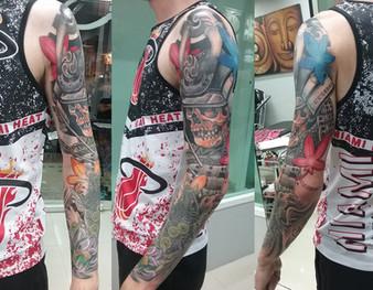 Japanese sleeve tattoo by Wake up tattoo Phuket at Patong Beach