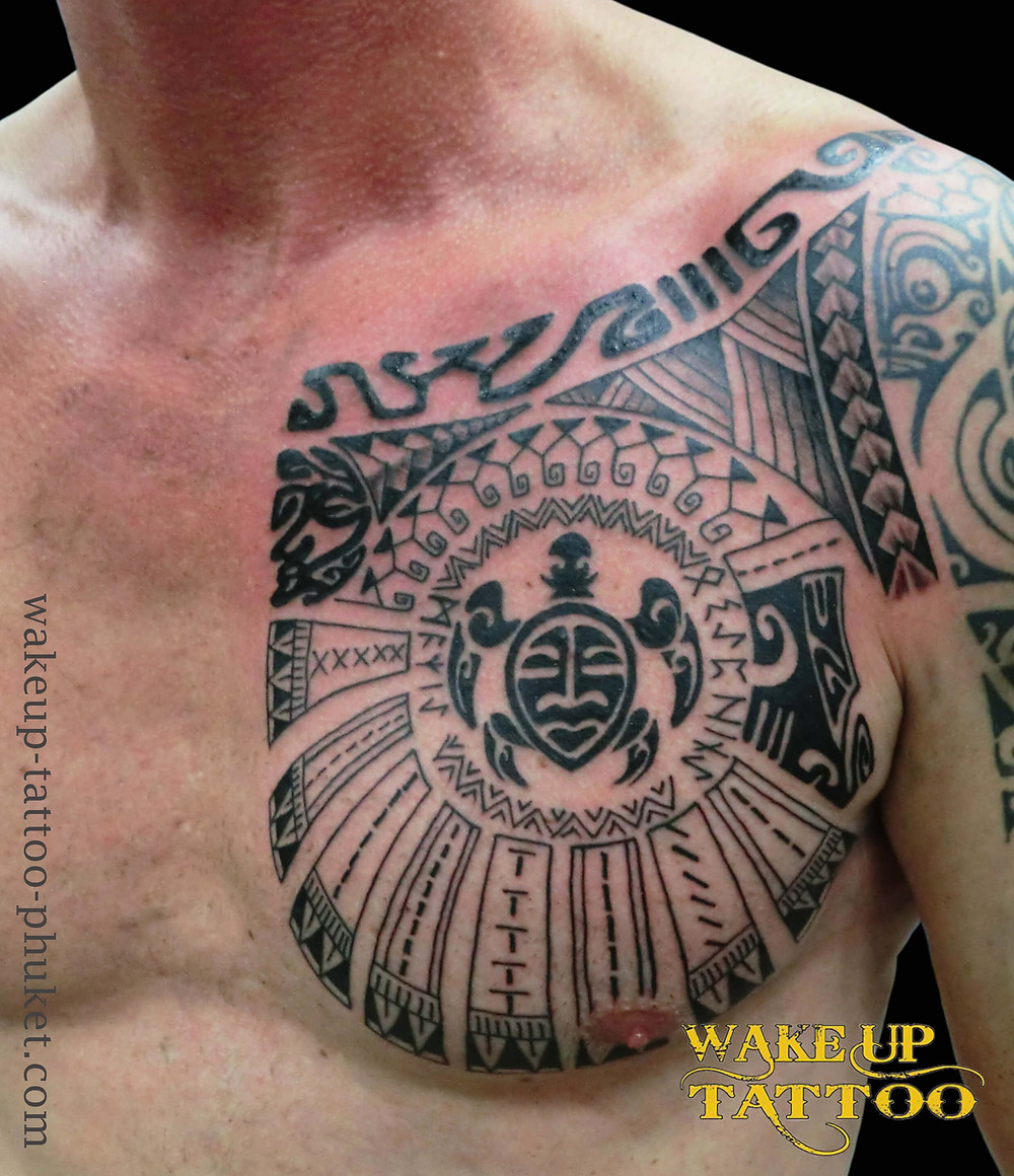 Polynesian Chest Tattoo by Wake up Tattoo Phuket