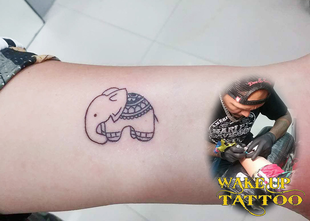 Elephant tattoo by Wake up Tattoo Phuket