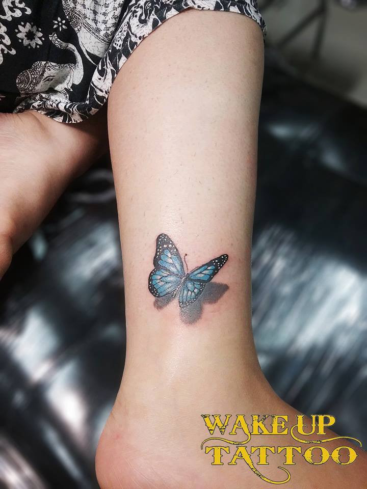 3D Butterfly Tattoo on leg by Wake up Tattoo