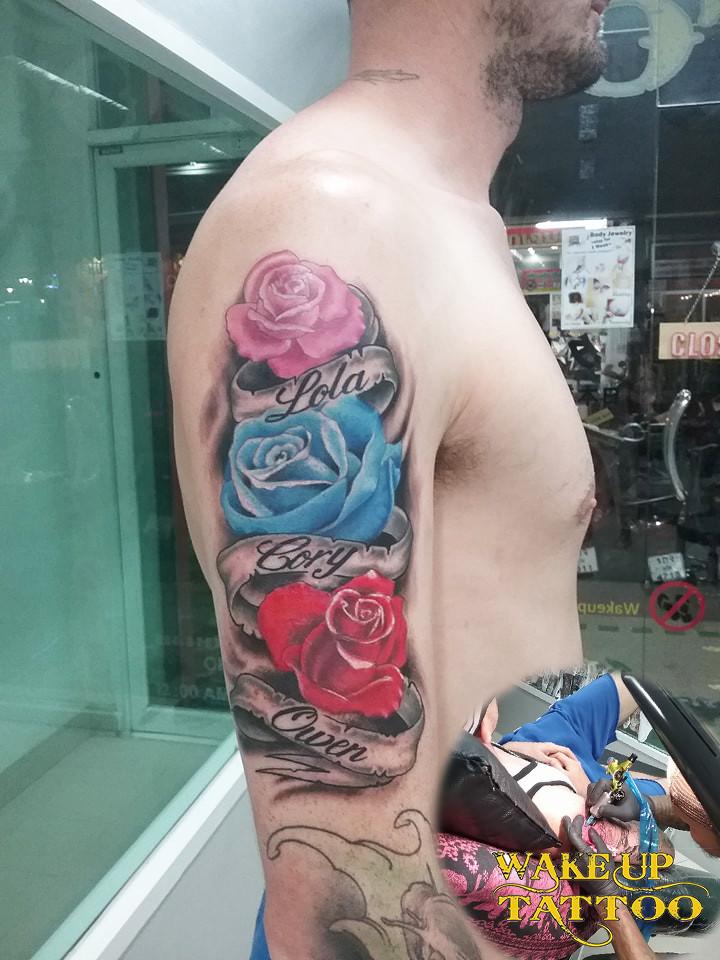 rose tattoo by Wake up Tattoo Phuket at Patong Beach