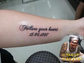 letter tattoo by Wake up Tattoo Phuket at Patong Beach Thailand