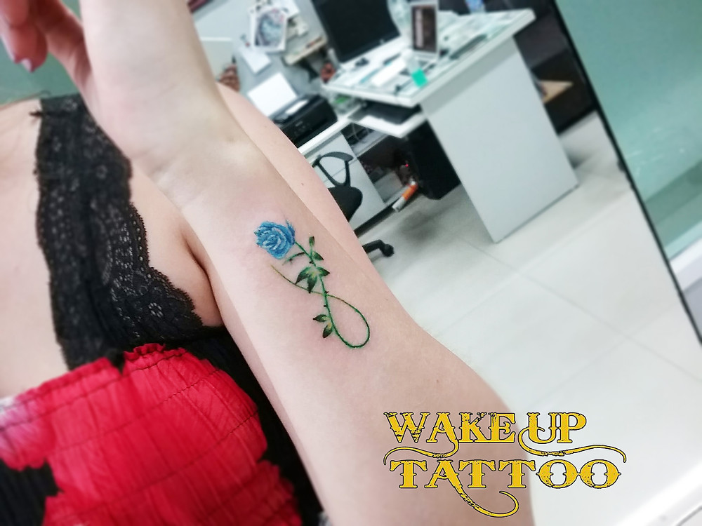 Infinity Flower Color Tattoo by Wake up Tattoo Phuket at Patong Beach Thailand