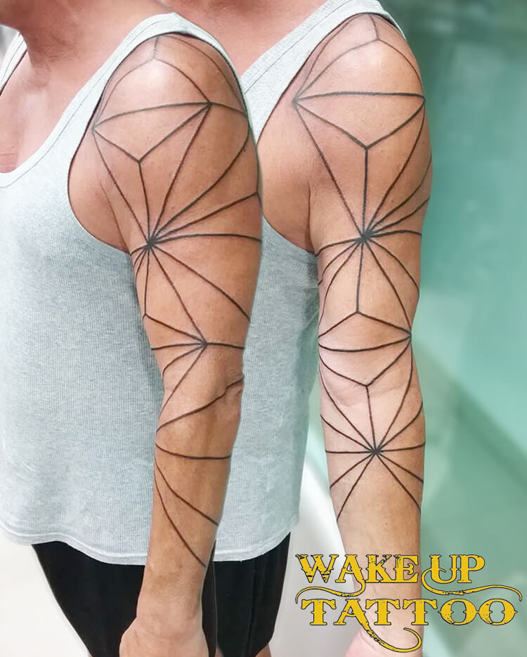 line design tattoo by Wake up Tattoo Phuket