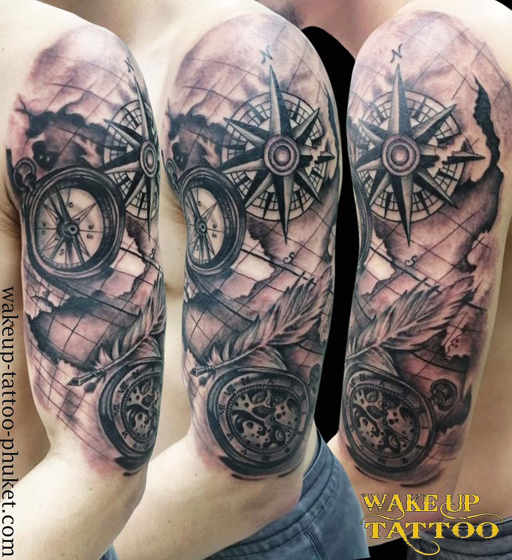 Compass, Clock and old map tattoo by Wake up Tattoo Phuket