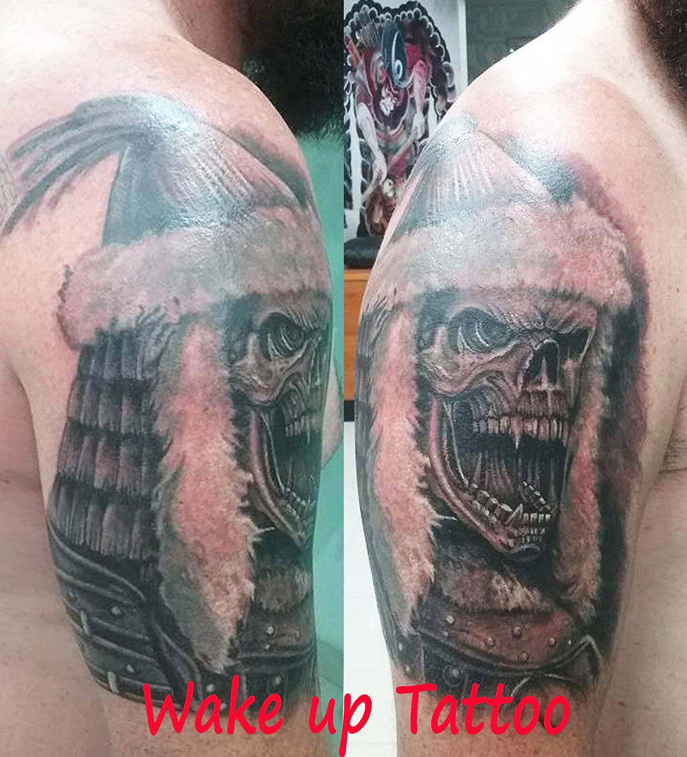 skull design tattoo by Wake up Tattoo at Patong Beach Phuket