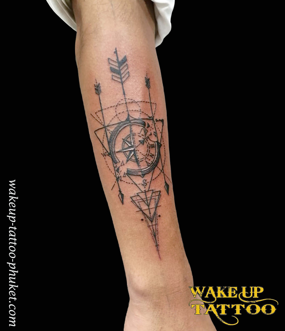 Geometric Tattoo on the Arm by Wake up Tattoo Phuket