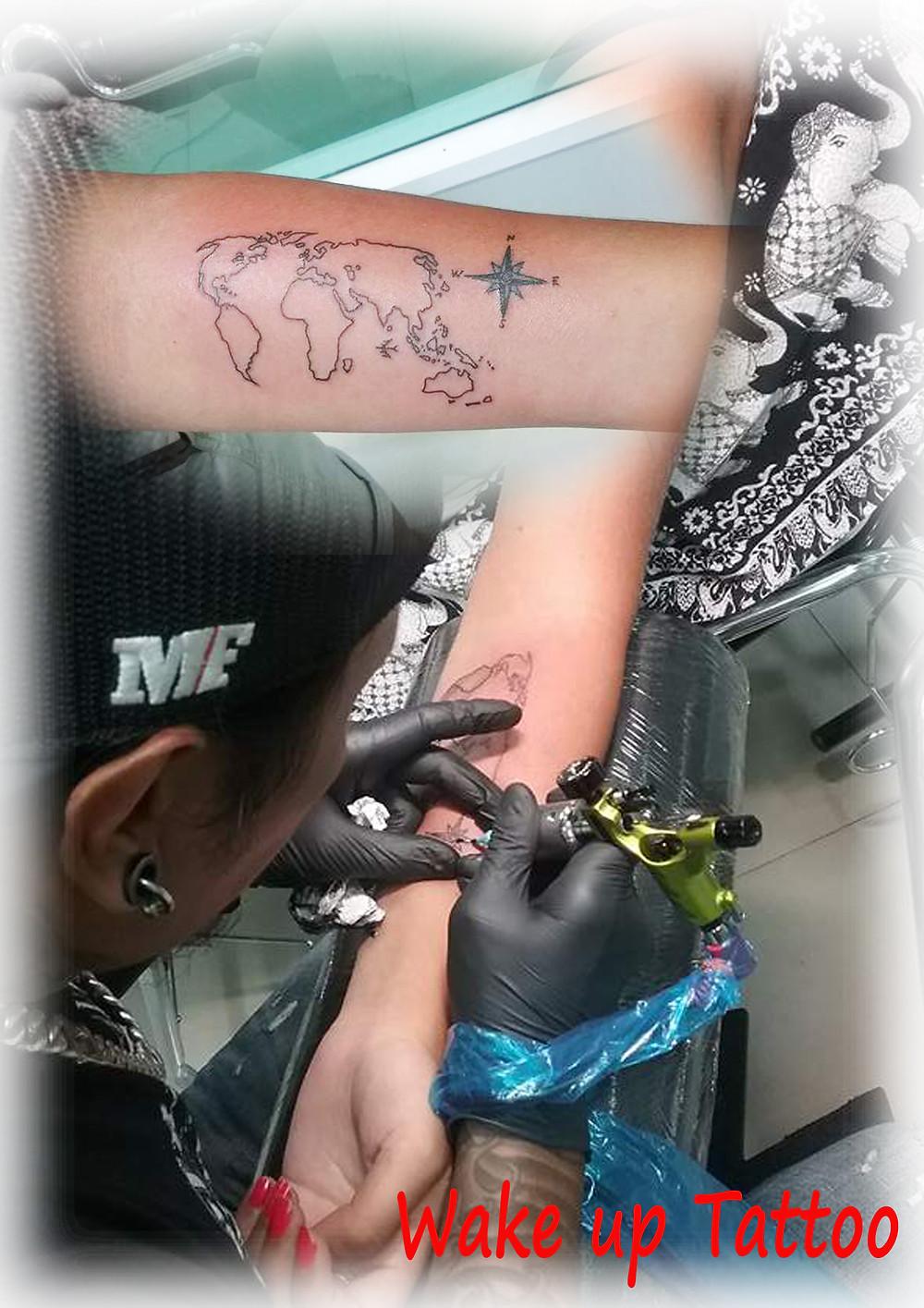Map Tattoo by Wake up Tattoo Phuket