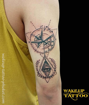 Geometric tattoos, Wake up Tattoo in Phuket