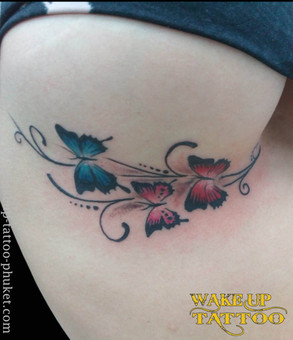 Sexy butterfly Chest side tattoo by Wakeup Tattoo Phuket