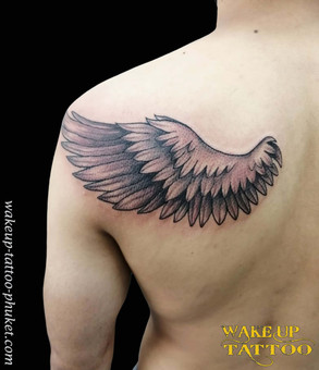 Feather Simple tattoo by Wake up Tattoo Phuket