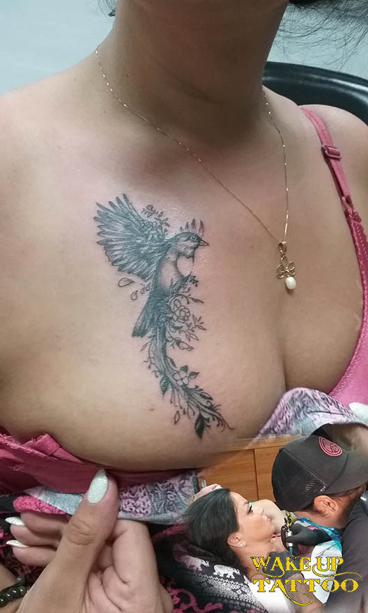 Bird tattoo by Wake up Tattoo Phuket at Patong Beach