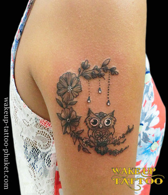 Owl and Flower Tattoo by Wake up Tattoo Phuket