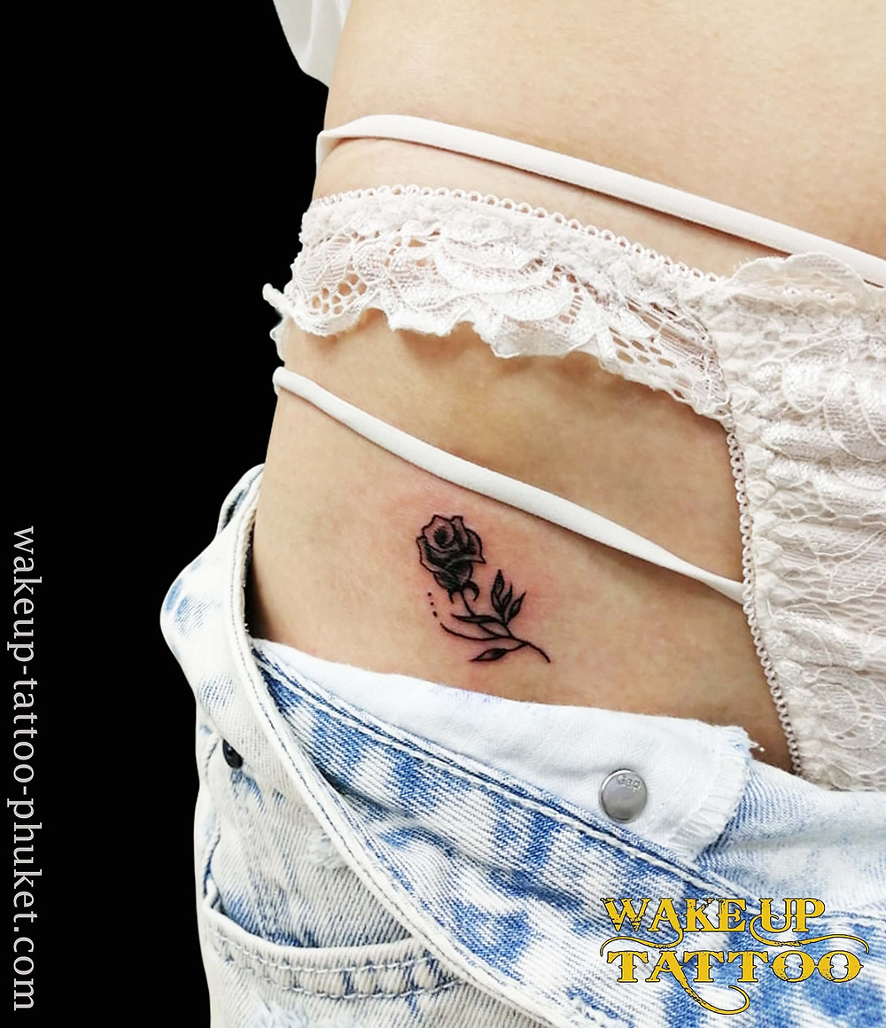 Rose Tattoo on the bikini line by Wake up Tattoo Phuket