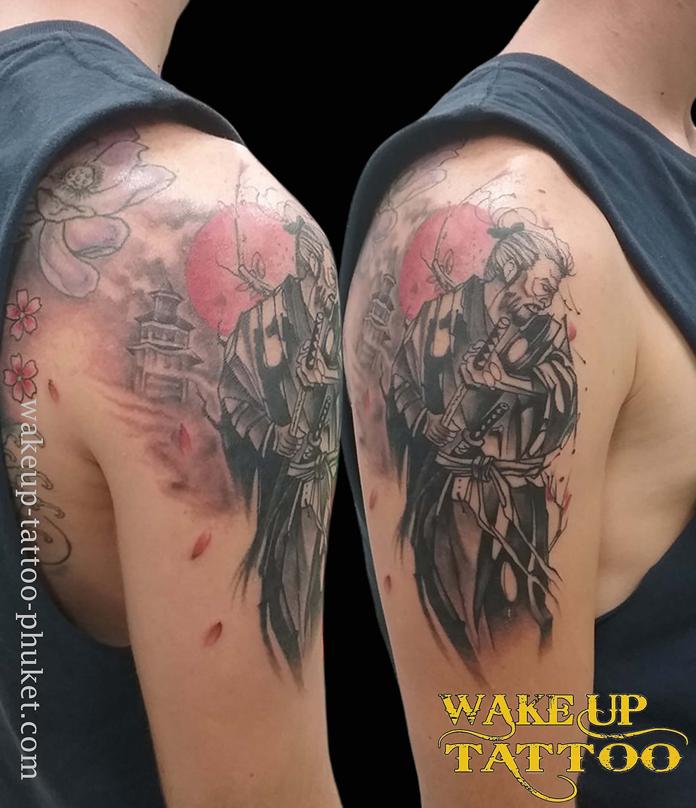 Samurai Japanese style tattoo by Wake up Tattoo Phuket