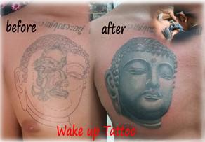 cover up Buddha tattoo by Wake up Tattoo Phuket