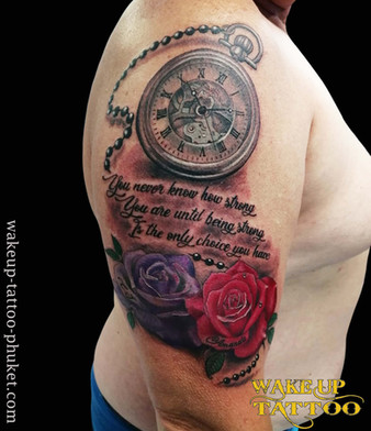 Rose and Clock Tattoo by Wake up Tattoo Phuket