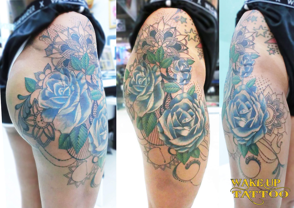 Mandala & Blue Rose Tattoo by Wake up Tattoo