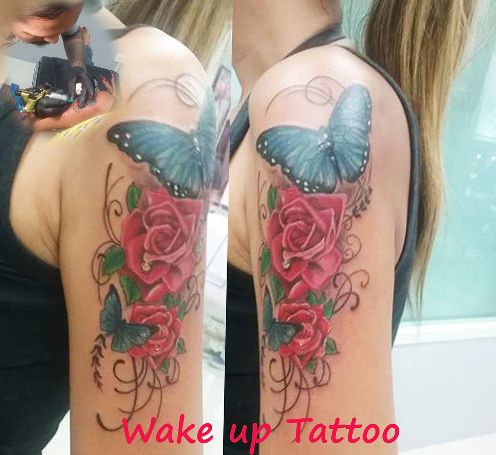 Rose and Butterfly tattoo by Wake up Tattoo Phuket