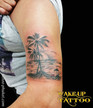 Sun set design tattoo with Palm tree by Wake up Tattoo Phuket