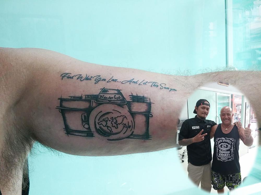 Camera design tattoo by Wake up Tattoo Phuket at Patong Beach Thailand