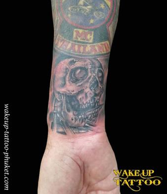 Skull small tattoo by Wake up Tattoo Phuket