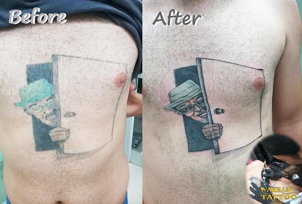 Remake tattoo by Wake up Tattoo Phuket at Patong Beach