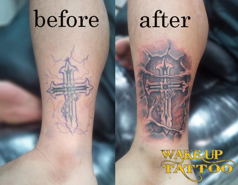 Cover up Cross Tattoo by Wake up Tattoo Phuket