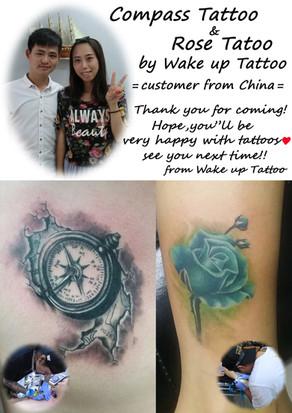 Compass & Rose Tattoo by Wake up Tattoo