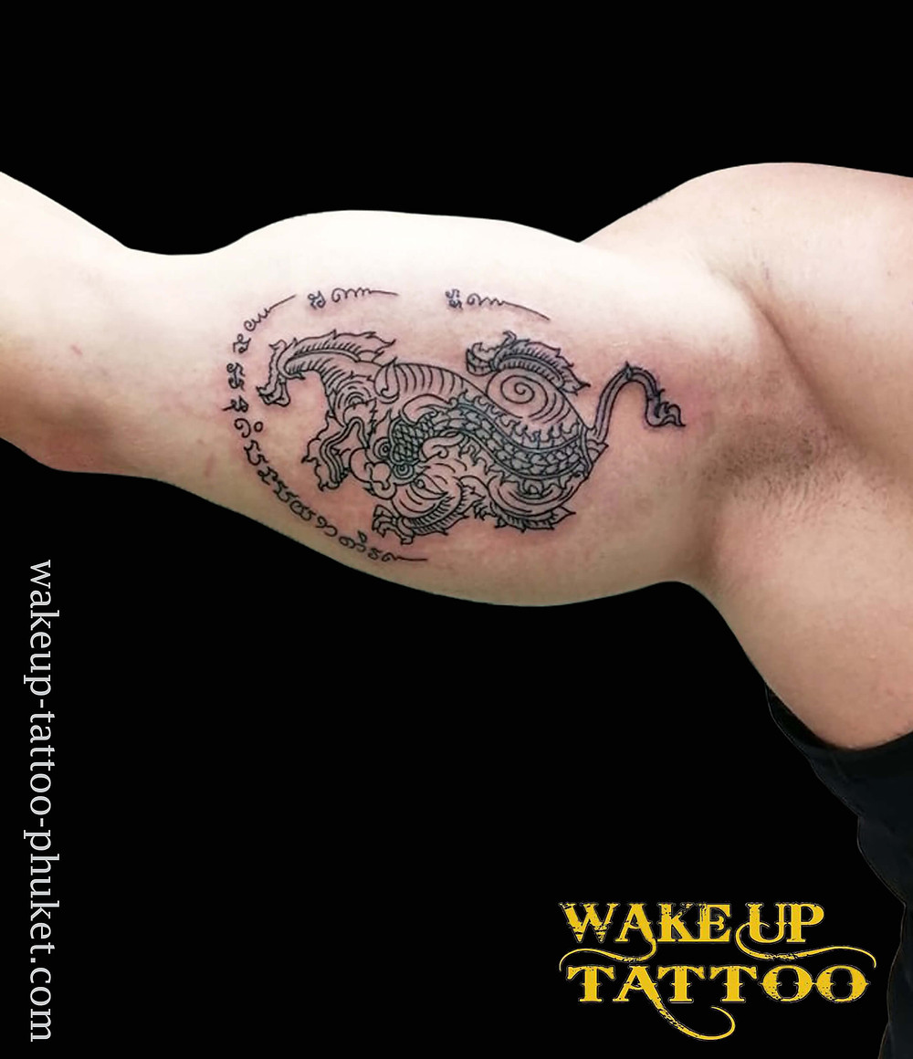 Sak Yant Thai Traditional tattoo by Wake up Tattoo Phuket