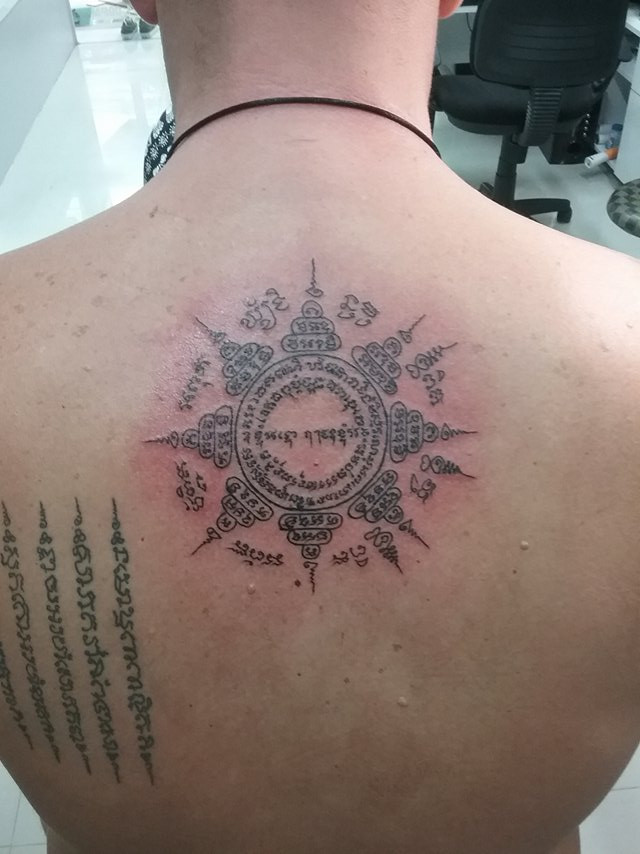 Sak Yant bamboo Tattoo at Wakeup Tattoo Phuket in Patong