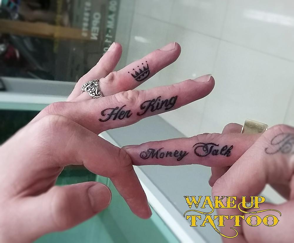 Finger Tattoo by Wake up Tattoo Phuket at Patong Beach Thailand