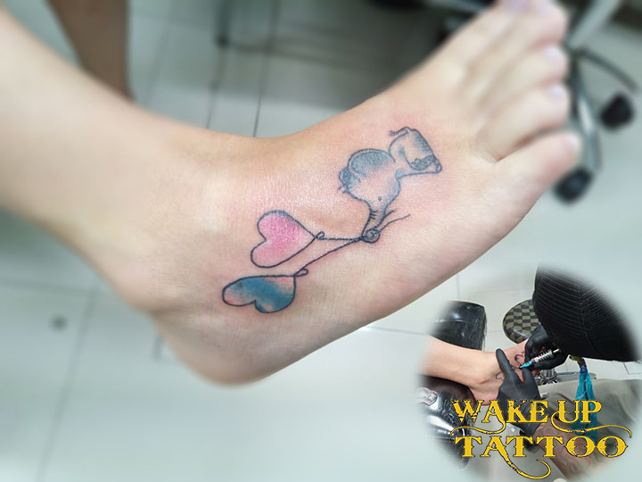 elephant watercolor tattoo by Wake up Tattoo phuket