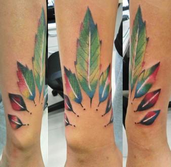 Colorful Leaf Tattoo by Wake up Tattoo Phuket