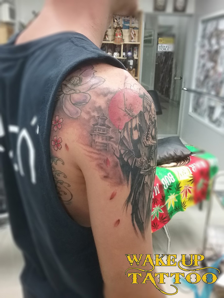 Samurai tattoo by Wake up Tattoo Phuket at Patong Beach Phuket Thailand