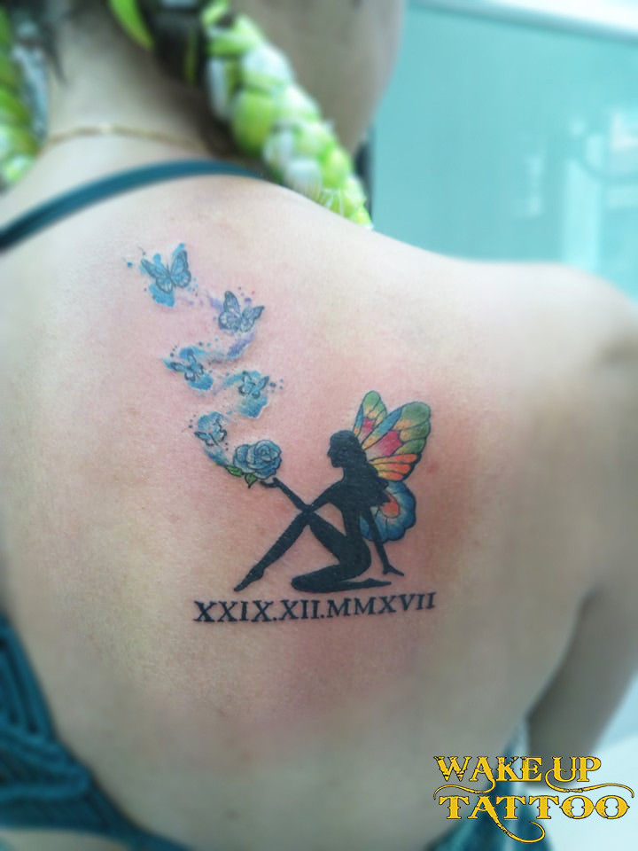 Angel tattoo colorful by Wake up Tattoo Phuket at Patong Beach