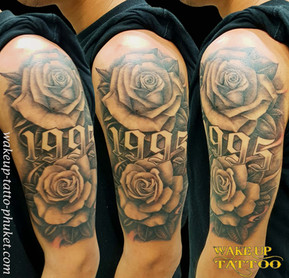 Rose Tattoos on the arm | Wake up Tattoo in Phuket