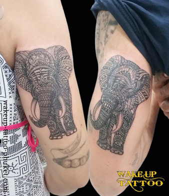 Thai style elephant tattoos by Wake up Tattoo Phuket