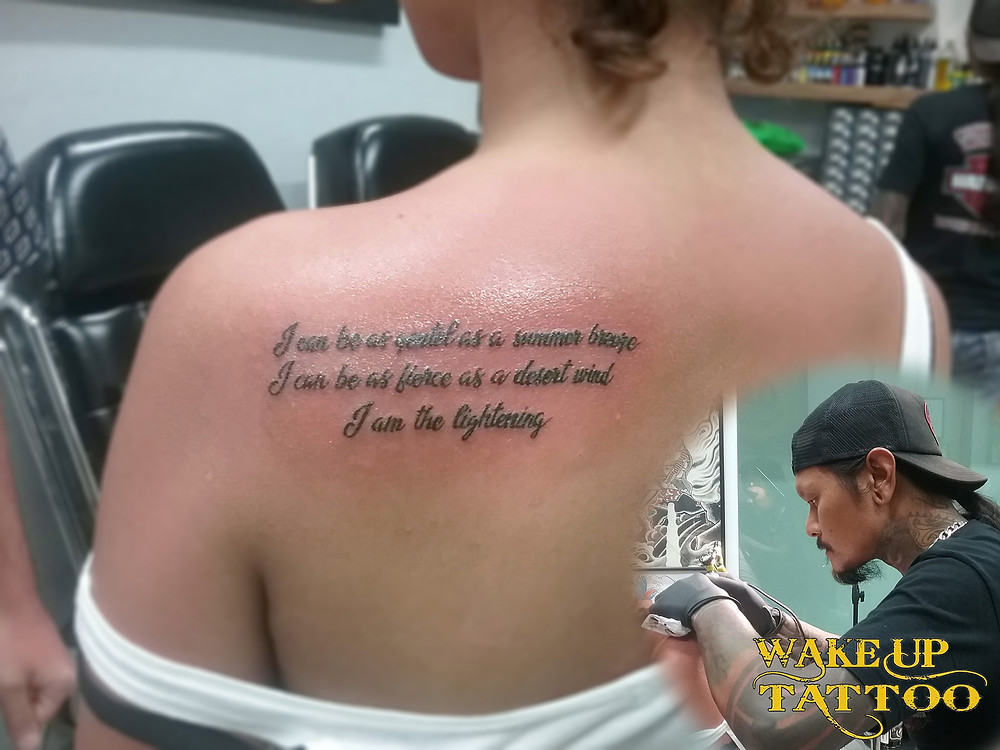 writing tattoo by Wake up Tattoo Phuket at Patong Beach Thailand