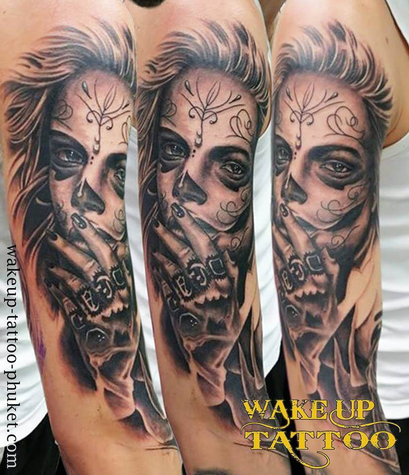 Day 1. Day of the dead tattoo by Wake up Tattoo Phuket