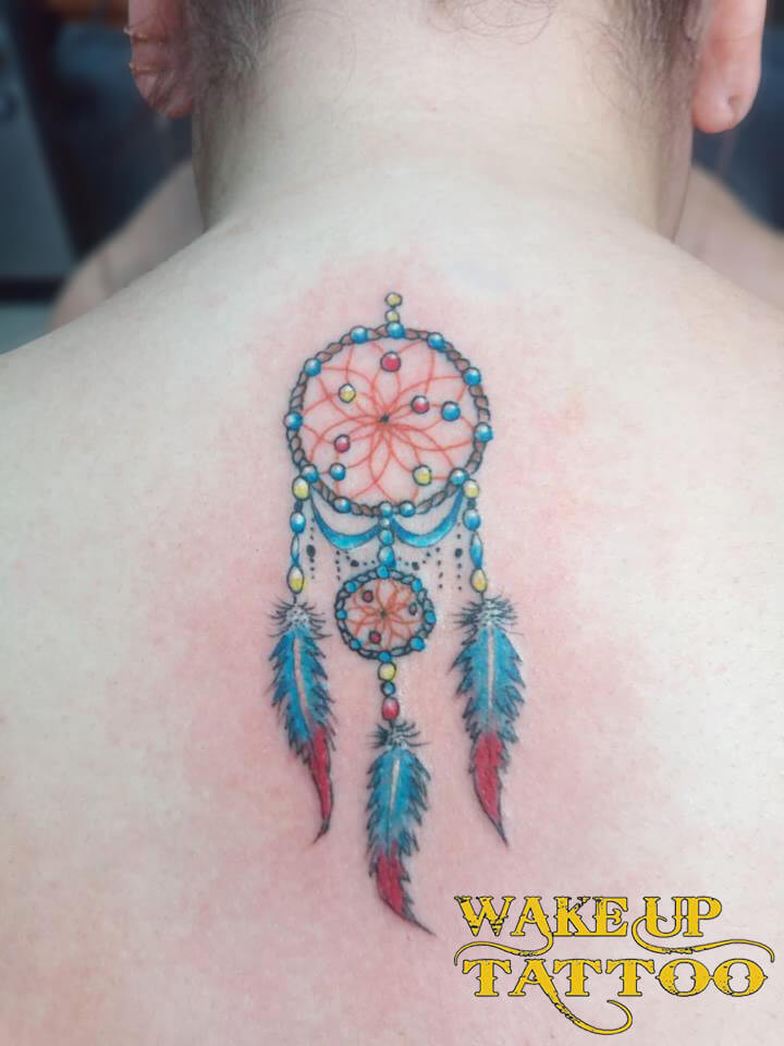 Dream catcher colorful tattoo by Wake up Tattoo Phuket