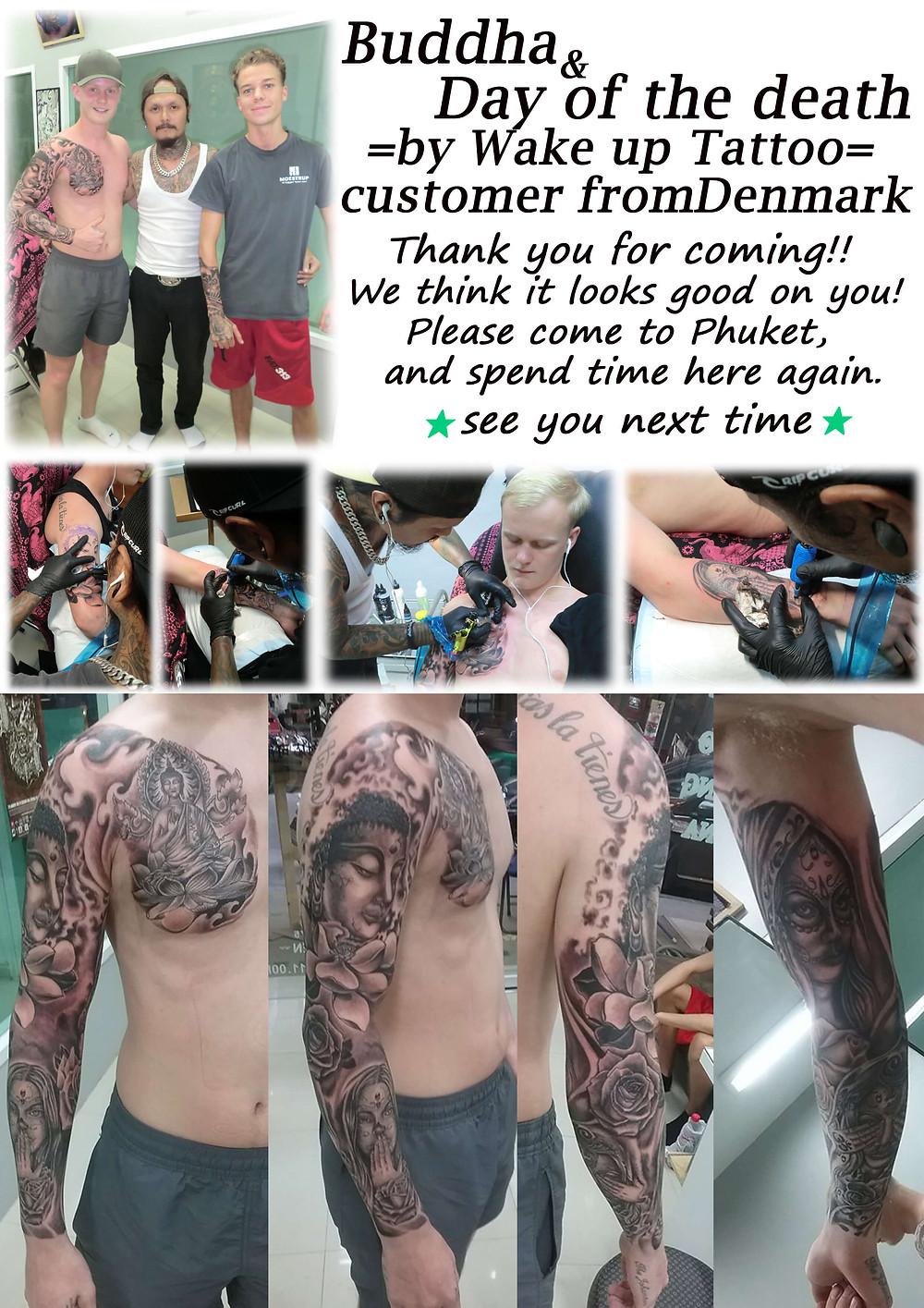 Buddha sleeve tattoo by Wake up Tattoo Phuket