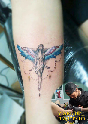 Angel color Tattoo in Patong Tattoo Studio at Wake up Tattoo