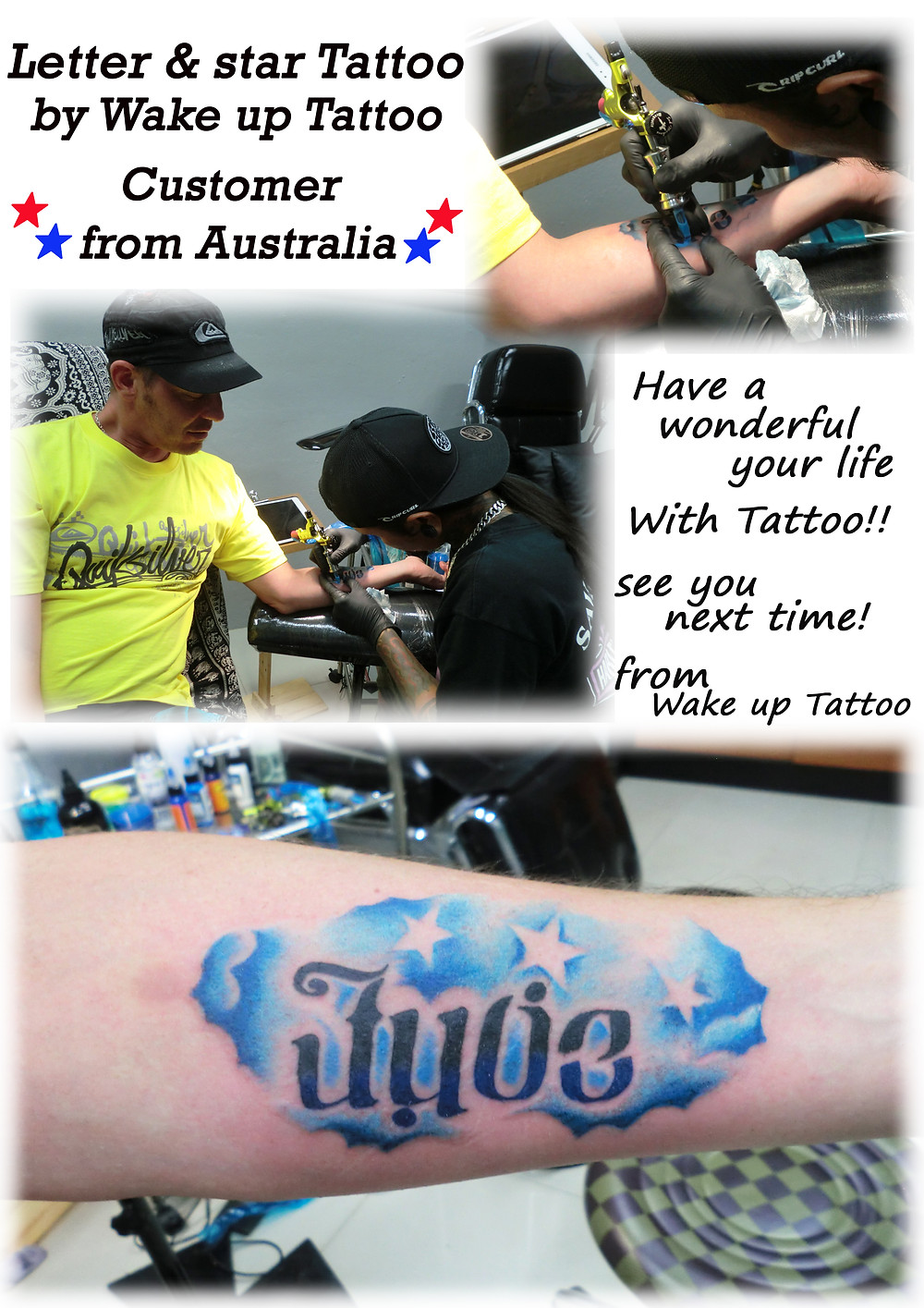 Letter & star tattoo by Wake up Tattoo Phuket