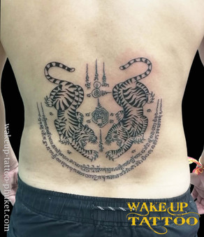Thai Tiger Sak Yant tattoo by Wake up Tattoo Phuket