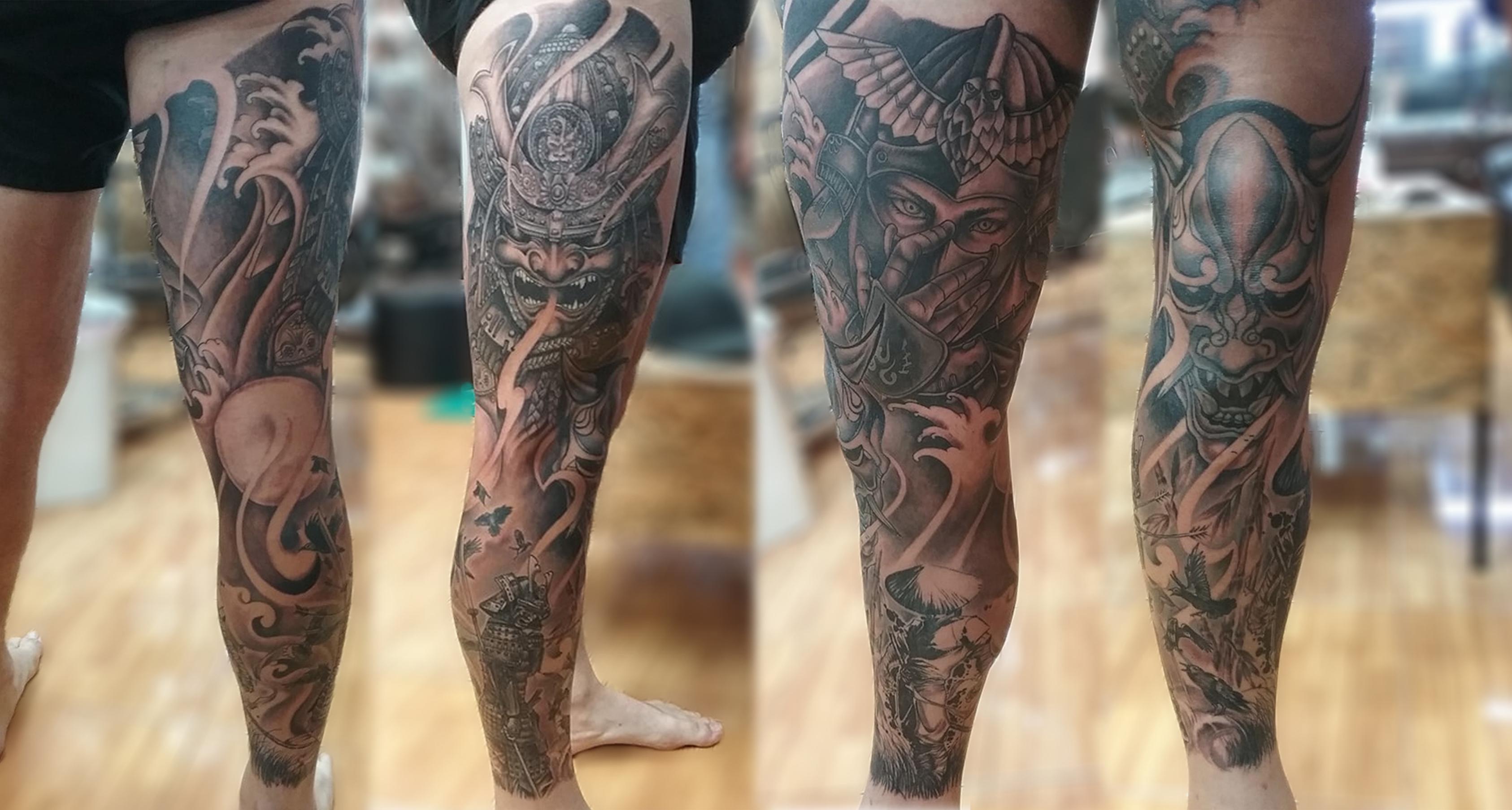 Beautiful тату в японском стиле на ноге