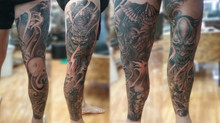 Japanese full leg tattoo by Wake up Tattoo Phuket at Patong Bach