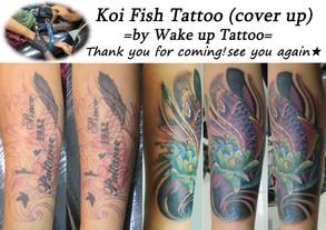 Koi fish Tattoo(cover up) by Wake up Tattoo Phuket