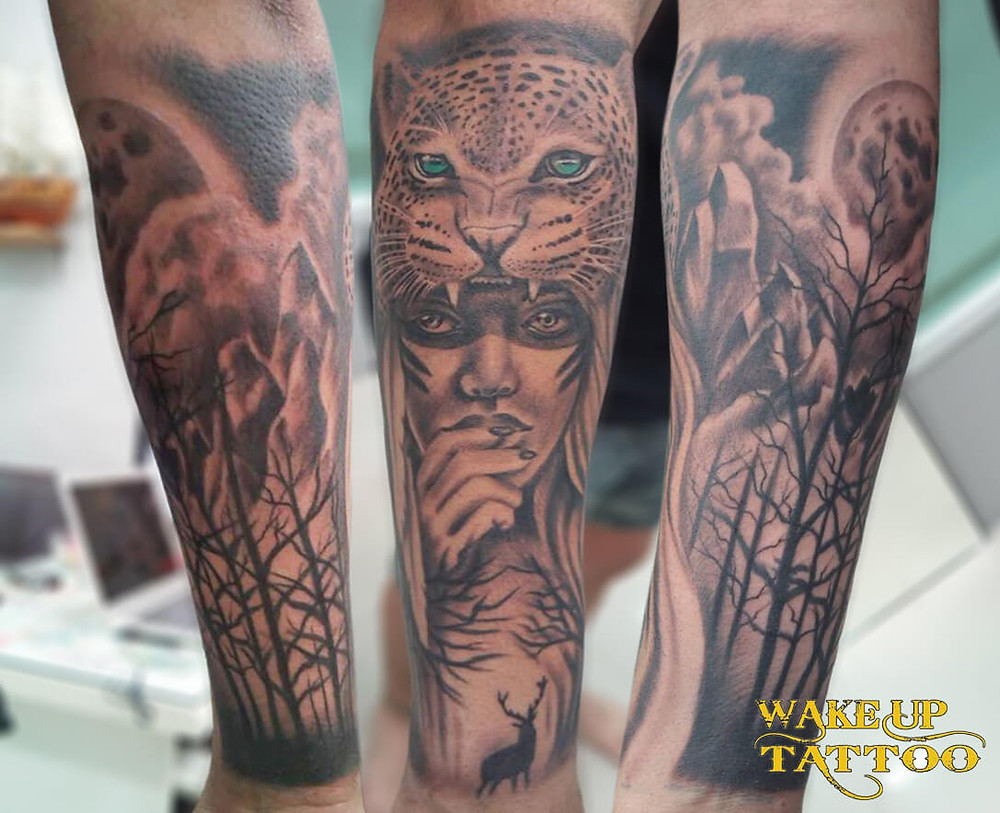 Tiger and woman tattoo by Wake up Tattoo Phuket